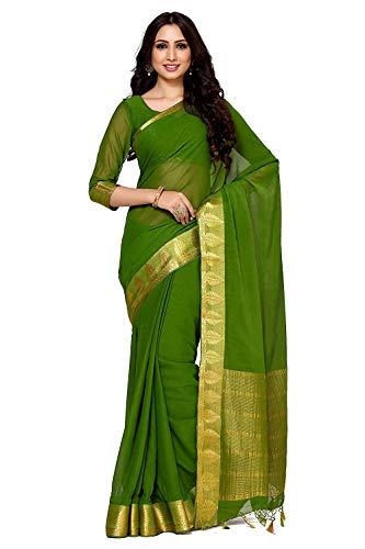 Women's Chiffon Saree with Blouse Piece(4090-2130-SD-OLV_Green_Free Size) Olive Green Silk Saree