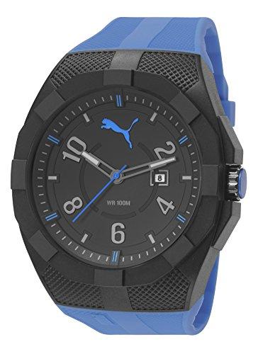 Puma Iconic - Reloj análogico de cuarzo con correa de poliuretano para hombre, color azul/negr