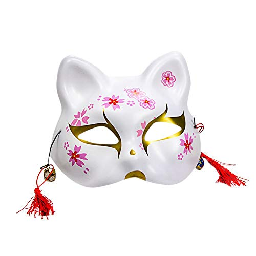 Unique Fox Mask With Tassels & Bell,Christmas Party Cosplay Japanese Style Mask Masquerade Costume Mask -