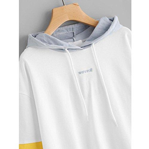 Felpa Donna con cappuccio , feiXIANG Donna moda manica lunga miscela del cotone Felpa con cappuccio maglione pullover top camicetta,S~XL Z##_Bianco