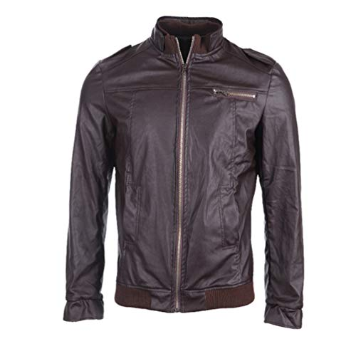Tookang Herren Mode Vintage Jacke Übergangsjacke Biker Lederjacke Bomberjacke aus Leder Lässig Einbau Stil