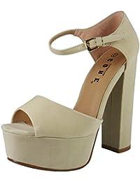 Loudlook Nouveau Femmes Dames Suede Peeptoe Haut Plate-Forme De Bloc Chaussures De Soir¨¦e De Sandales ? Talons Taille 3-8