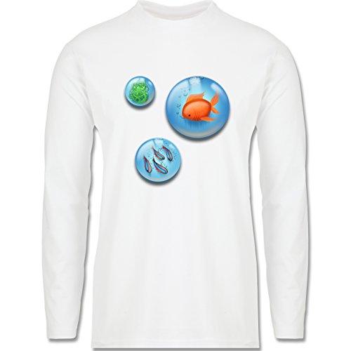 Sonstige Tiere - Aquarium Bubbles Fische - Longsleeve / langärmeliges T-Shirt für Herren Weiß