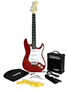 Rockburn ST Style Electric Guitar Pack with Amp, Gig Bag, Strings, Strap, Lead and Plecs - Red (B002S0NLD8) | Amazon price tracker / tracking, Amazon price history charts, Amazon price watches, Amazon price drop alerts