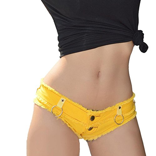 Wgwioo Shorts Frauen Mini Party Dancing Club Tragen Niedrige Taille String Shorts Denim Hot Jeans Shorts . Yellow . M