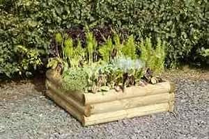 Grande Jardinière d'extérieur - Potager et Plantes - Style Rondins de Bois - pour faire pousser soi-même 96 l x 96 D x 30 cm H 200Ltr - Pas d'entretien requis - Garantie anti-rouille 15 ans