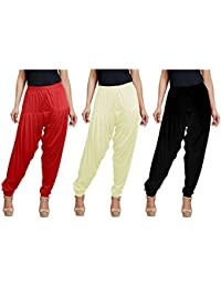 Super Stretch Viscose Spandex Patiala Combo Of 3 (Red, Off White, Black, XL (Waist - 34; Length - 39))