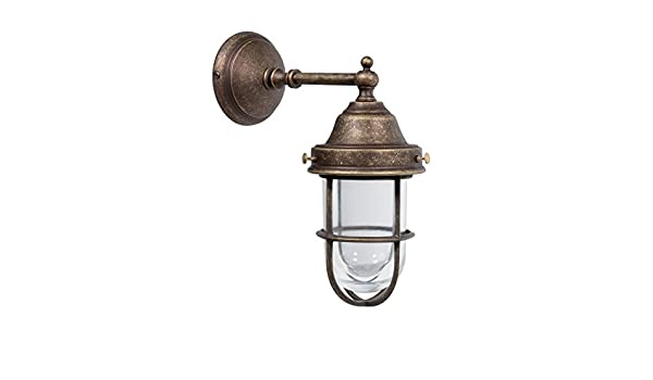 Applique lampada da parete in ottone brunito stile marina nautica