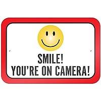 Smile You're On Camera - Placa decorativa de aluminio para señales, 9 x 6, diseño vintage