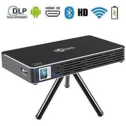 TOUMEI C800S Mini Projecteur - Android 7.1 Portable Videoprojecteur WiFi DLP Pico Projecteur 100 ANSI Lumens - 1080P Full HD WiFi Bluetooth Entrée HDMI pour Gaming/Laptop/PS4 (Noir)