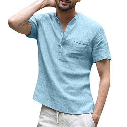 Kobay Chemise à Manches Courtes pour Hommes en Coton de Couleur Unie T-Shirt à Manches Courtes en Coton de Couleur Unie pour Hommes, Lin et Coton