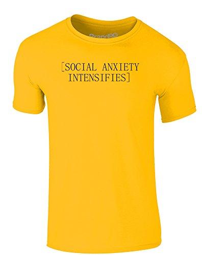 Brand88 - Social Anxiety Intensifies, Erwachsene Gedrucktes T-Shirt Gänseblümchen-Gelb/Schwarz