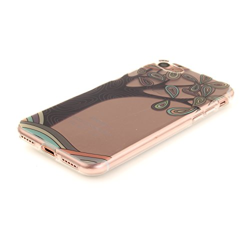 Meet de Slim de Protection Téléphone Case pour Apple iPhone 7, Apple iPhone 7 Bumper Case Coque, Apple iPhone 7 Slim TPU Transparent Silicone Housse Etui pour Apple iPhone 7 - black Flower Jellyfish Arbre