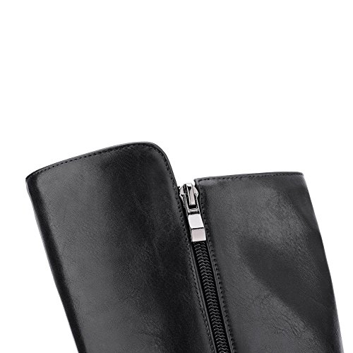 AgooLar Femme Zip Pointu Stylet Matière Mélangee Haut Élevé Bottes avec Masse Métal Noir