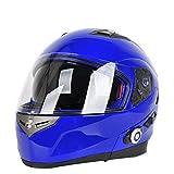 YOUANDMI Helm Kopfhörer Bluetooth Motorrad,500M Long Range Intercom -Vollduplex Intercom - 500Mah Große Kapazität Batterie - FM Radio (2Kg),Blue,56/57Cm