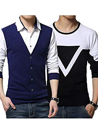 EYEBOGLER Regular Men's Cotton Waist Coat Style Tshirt/T-Shirt