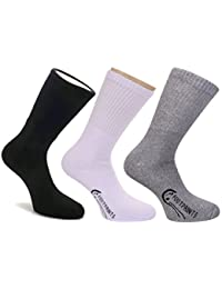 ootprints ORGANIC Cotton Men Sports Athletic Full length Cushion socks - Pack of 3 Pairs (BGW)