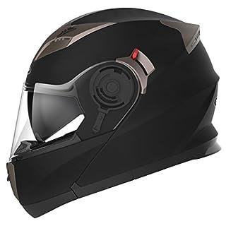 Motorradhelm Klapphelm Integralhelm Fullface Helm - Yema YM-925 Rollerhelm Sturzhelm mit Doppelvisier Sonnenblende ECE für Damen Herren Erwachsene-Schwarz Matt-M