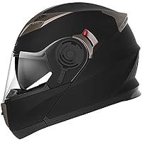 YEMA Casco Moto Modular ECE Homologado YM-925 Casco de Moto Integral Scooter para Mujer Hombre Adultos con Doble Visera-Negro Mate-XL