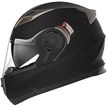 YEMA Casco Moto Modular ECE Homologado YM-925 Casco de Moto Integral Scooter para Mujer Hombre Adultos con Doble Visera-Negro Mate-M