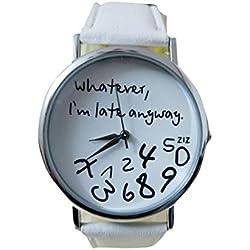 kingko® Uhren,Vintage Damenmode ?Whatever, I'm late anyway? Graviert Illusion Damenuhr Quarzuhr Armbanduhr(weiß)