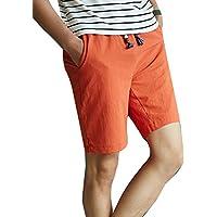 LaoZanA Pantalones Cortos De Lino Hombre Anchos Baggy Casual Cintura  Elástica Delgado Bermudas Shorts Rojo 2XL 417e0019454b