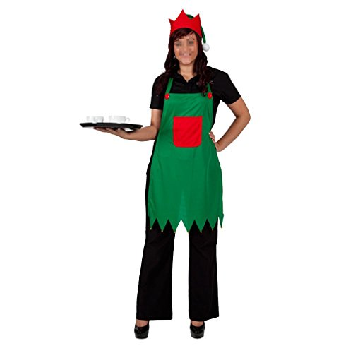 Keaiye grembiule grembiule e amp; costume da elfo adulto per cappello per la festa di natale