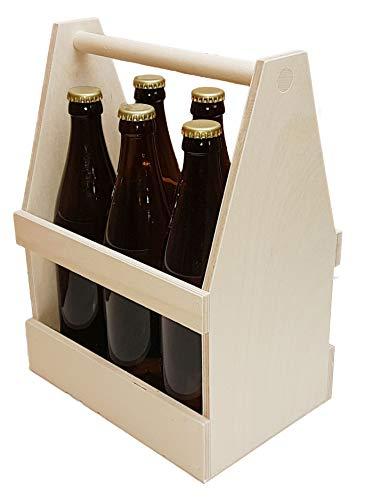 KF-Holz 6er Holzbierträger, Männerhandtasche, Sixpack, Flaschenträger