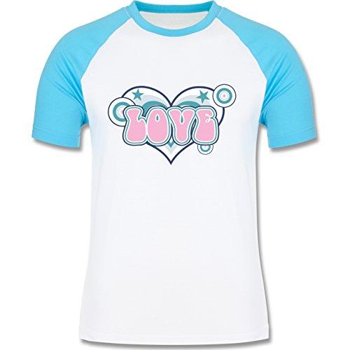 Romantisch - Love - zweifarbiges Baseballshirt für Männer Weiß/Türkis