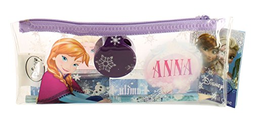 New Girls/Childrens Pvc Easy Clean Pencil Case With Stationary Set - Purple/Clear/Multi - UK SIZE 1