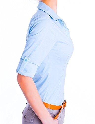 Danaest Damen Elegante Figurbetonte Langarm Bluse Hemd (510) Hellblau