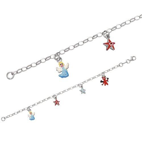 Suzette et Benjamin Kinder - 3180309 Kinder-Armband Silber 925/1000 4,5 g Stern Engel Teufel Emaille 16 cm