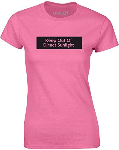 Brand88 - Keep Out of Direct Sunlight, Mesdames T-shirt imprimé Azalée/Noir