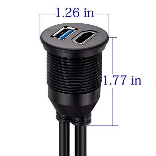 cami/ón LBSC Cable de Montaje Empotrado USB 3.0 y HDMI Cable de extensi/ón USB Macho a Hembra para Coche Barco Tablero de Motocicleta