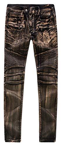 Preisvergleich Produktbild Herren Bikerjeans Motorrad Denim Hose Hrenjeans Herrenmode Jeans Skinny Coated L019 Gold Silber Kupferig W28 Bis W34 (Color : Kupferig,  Size : 34)