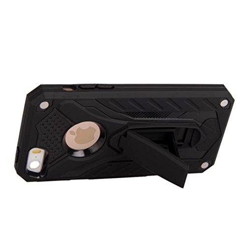 Neue stilvolle Hybrid-Rüstung Schutzhülle Case Shockproof Dual Layer PC + TPU Rückseitige Abdeckung mit Kickstand für [Shock Absorbtion] für iPhone 5s & SE ( Color : Red ) Black
