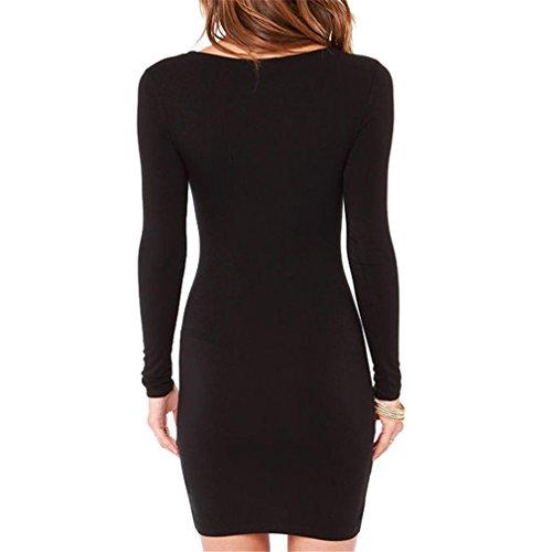 inischen Casual Langarm Plus Size Club Party Kleid schwarz M (Plus Größe Gehen Gehen Stiefel)