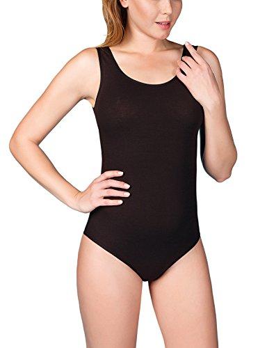VEDATS Damen Body Träger Top Unterhemd Achselhemd Bodysuit Schwarz Weiß Hautfarben S M L XL (M, (Damen Günstige Bodies)