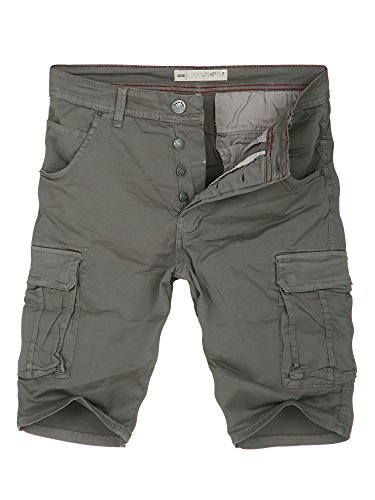 L.A.B 1928 Cargo Shorts Herren Cargoshorts Kurze Hose Bermuda Sommer Joggjeans Jeans Grau 8318 W36 (52)