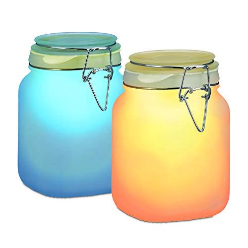 Relaxdays Lampe solaire 2 LED changement de couleurs bocal lanterne décoration jardin 1 L HxlxP: 16 x 10 x 11 cm, bleu / orange