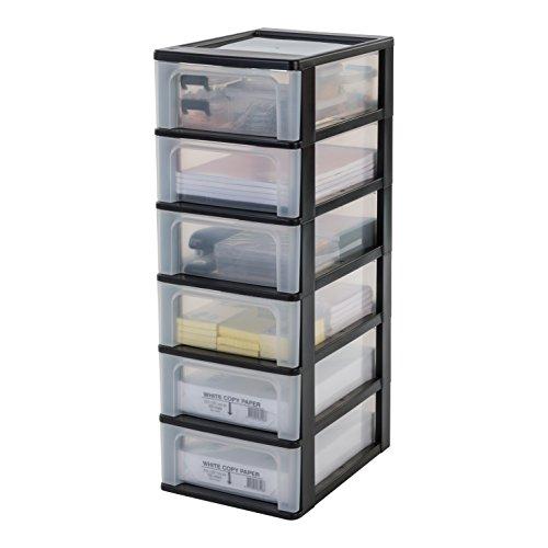 IRIS, Schubladencontainer / Schubladenschrank 'Organizer Chest', OCH-2006, Kunststoff, schwarz / transparent, 35,5 x 26 x 72,5 cm