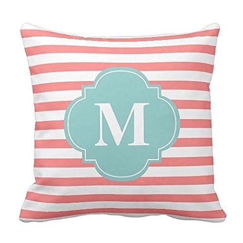 Coral und Mint Streifen Monogramm Überwurf Kissen Fall Sofa Kissen Kissenbezug 45x 45cm Accent Home Dekorative Kissenbezug