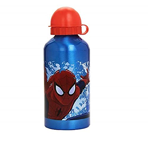 Kids Euroswan Cantimplora de 500 ml, Estampado Spiderman, Aluminio, 15x10x5 cm
