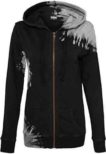 Ladies Acid Wash Terry Zip Hoody Black/Grey