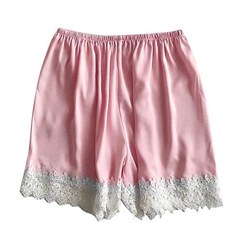 COOOOEENS Pyjamas Rosa Farbe Hose Womens Schlaf Bottoms Satin elastische Taille weißer Spitze Shorts Kostüm Seide Sommer Nachtwäsche -