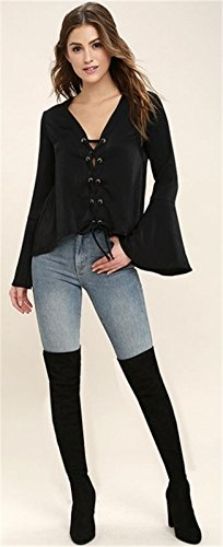 Sexy Encolure Profonde Col En V Lacé Dentellets Laçage sur le devant Mousseline Manches Cloche Larges Manches Longues Blouse Chemisier T-Shirt Haut Top Noir Noir