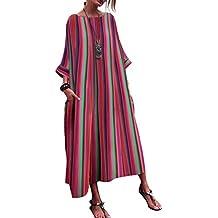 Mymyguoe Vestido Suelto a Rayas de Color para Mujer Bata de Manga Larga a Rayas Mujeres