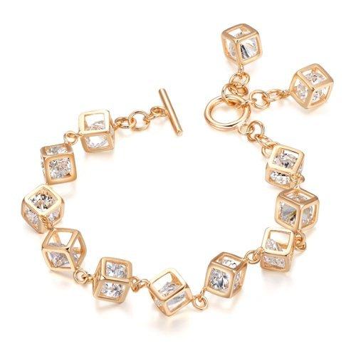 74e195fb3dc0e3 Yoursfs Bracelet 18k plaqué Or Solitaires en Cristal carré pavés Bijoux  fantaisie pour Femmes ou Filles