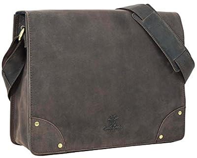 """Gusti Cuir studio """"Allan"""" sac notebook 15,4"""" sac à bandoulière sac porté épaule sac en cuir véritable avec doublure imperméable messenger besace sacoche iPad Air marron foncé 2H4-20-4wp"""