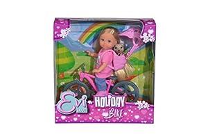 Simba-Evi Holiday muñeca Flexible de Bicicleta con Perro, Color, 105733273038